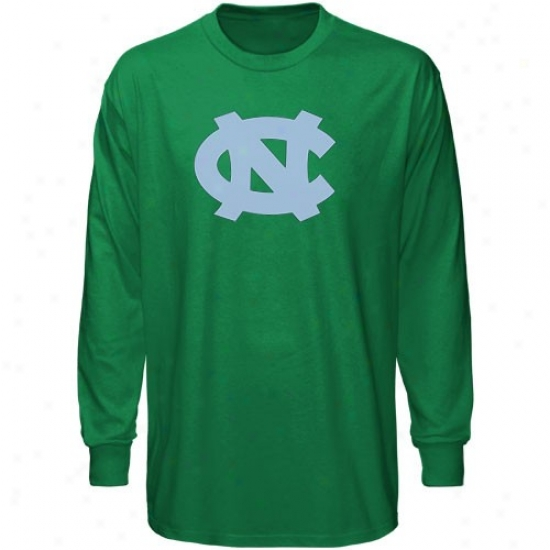 Unc Tarheels Apparel: Unc Tarheels (unc) Green St. Patrick's Day Team Logo Long Sleeve T-shirt