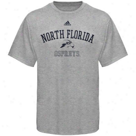 Unf Ospreyss T-shirt : Adidas Universith Of North Florida Ospreys Ash Practice T-shirt