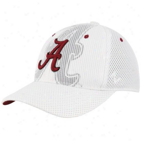 University Of Alabama Merchandise: Zephyr University Of Alabama White Double Logo Fitted Mesh Cardinal's office