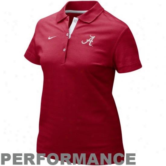 University Of Alabama Plos : Nike Seminary of learning Of Alabama Ladies Crimson Classic Performance Polos