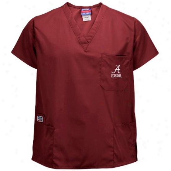 University Of Alabama Tshirt : University Of Alabama Crimson Four-pocket Scrub Top