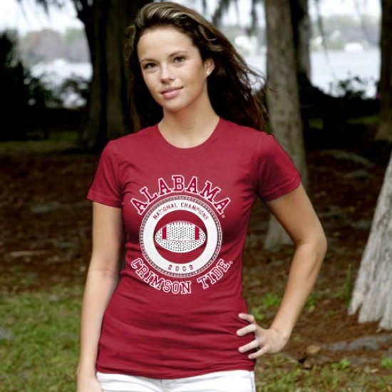 University Of Alabama Tshirts : My U University Of Alabama Ladies Crimson 2009 Bcs Nagional Champions Rhihestone Premium Tshirts