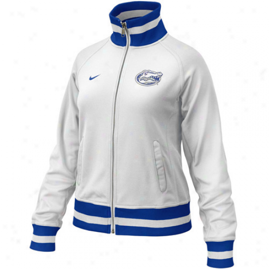 University Of Florida Jacket : Nike University Of Florida Laddies White-royal Blue In The Lightz Full Zip Track Jacket