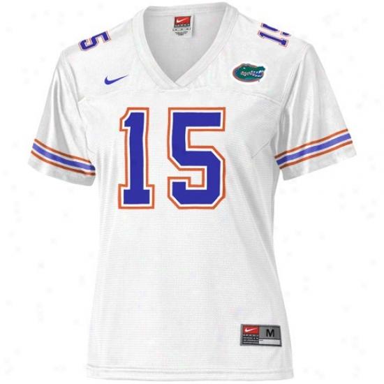 University Of Florida Jerseys : Nike University Of Florida #15 Ladies White Replica Football Jerseys