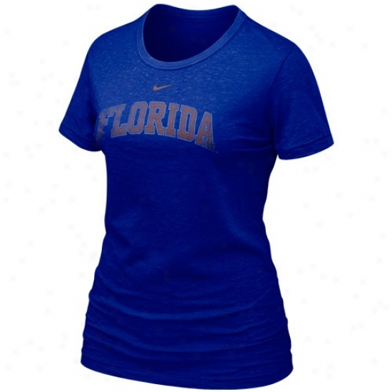University Of Florida Shirt : Nike University Of Florida Ladies Royal Blue Favorite Burrnout Premium Shirt