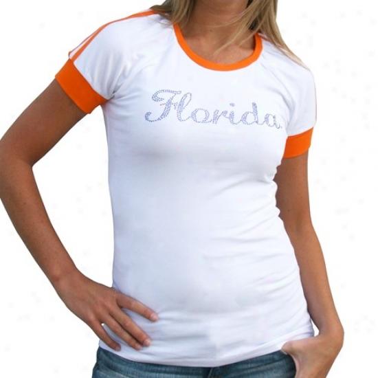 Univerxity Of Florida Shirts : University Of Florida Ladies White-orange Emily Premium Shirts