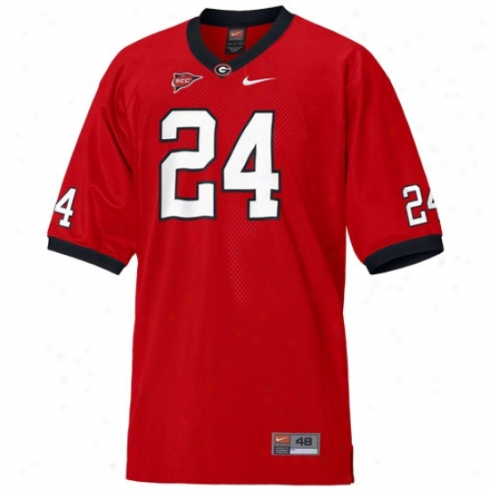University Of Georgia Jerseys : Nike University Of Georgia #24 Red Authentic Football Jerseys