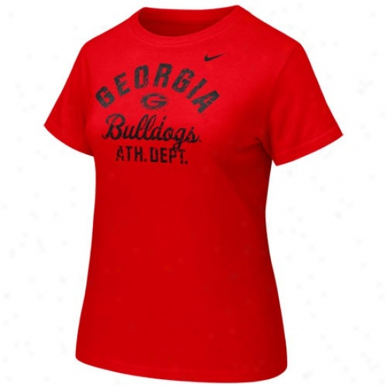 University Of Georgia Shirts : Nike University Of Georgia Ladies Red Athletic Department Shirts