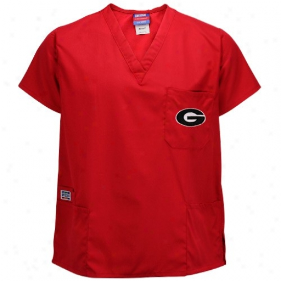 University Of G3orgia Tee : Seminary of learning Of Georgia Red Four-pocket Scrub Top