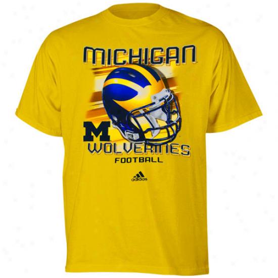 University Of Michigan Attire: Adidas University Of Michigan Youth Gold Tech Helmet T-shirt
