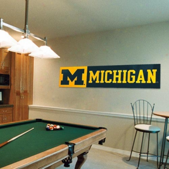 University Of Michigan Banners : University Of Michigan 8' X 2' Applique & Embroidered Banners