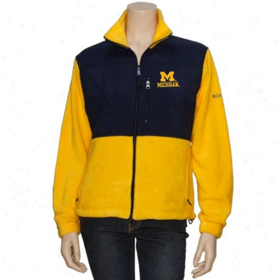 University Of Michoagn Jacket : Columbia University Of Michigan Ladies Gold Midfielder Quite Zip Fleece Jacket