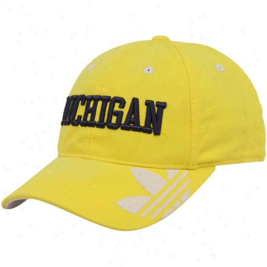 Univversity Of Michigan Merchandise: Adidas University Of Michigan Maize Slope Flex Fit Hat