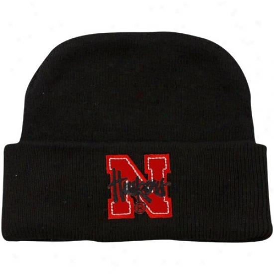 University Of Nebraska Hats : University Of Nebraska Newborn Black Knit Beanke