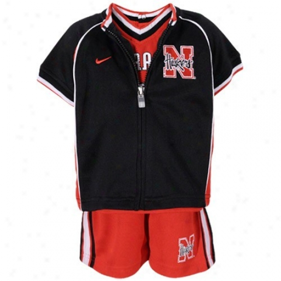 University Of Nebraska Jacket : University Of eNbraska Infant Blzck-scarlet 3-piece Basketball Jersey, Jacket And Shorts Set