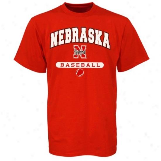 University Of Nebraska Shirt : Russell University Of Nebraska Scarlet Baseball Shirt