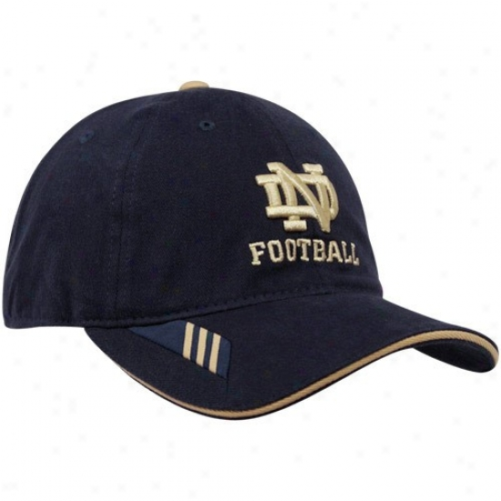 University Of Notre Dame Hats : Adidas University Of Notre Dame Navy Blue 2010 Coaches Sideline Adjustable Hats