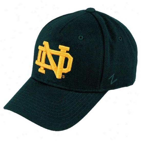 University Of Notre Dame Hats : Zephyr University Of Notre Dame Green Dh Zfit Hats
