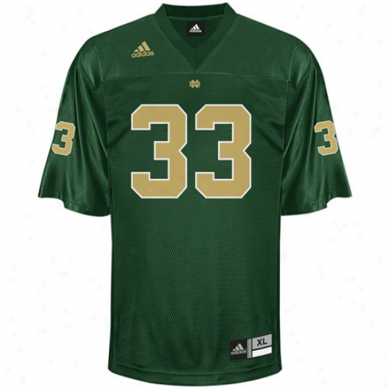Univversity Of Notre Dame Jersey : Adidas University Of Notre Dame #33 Youth Green Alternate Color Replica Football Jersey
