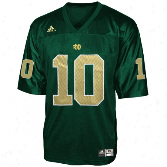 University Of Notre Dame Jersey : Adidas University Of Notre Dame #10 Green Youth Replica Football Jersey