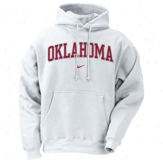 University Of Oklahoma Hoodys : Nike University Of Oklahoma White Classic Hoodys