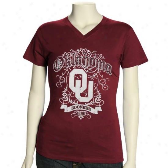 University Of Oklahoma Shirt : University Of Oklahoma Women's Crimson Flocking V-neck Premium Sihrt