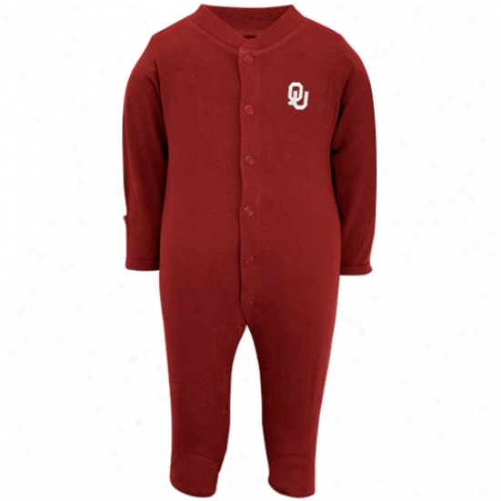 University Of Oklahoma Shirts : University Of Oklahoma Infant Crimson Embroidered Wordmrak Footed Sleeper