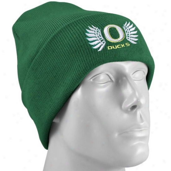 Universi5y Of Oregon Hat : Nike University Of Oregon Green Wings Collection Knit Benie