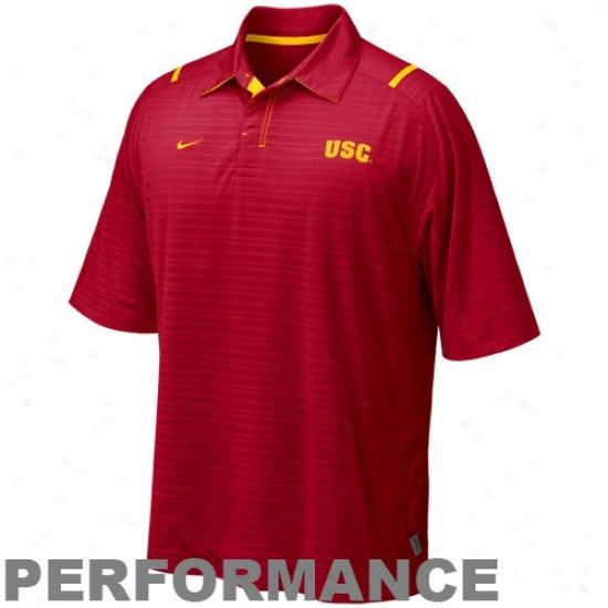 University Of Southern California Golf Shirt : Nike University Of Sotuhern California Cardinal Conference Corne Performance Golf Shirt