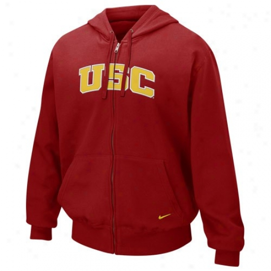 University Of Soutthern California Sweatshirt : Nike University Of Southern California Red First-rate Full Zip Sweatshirt