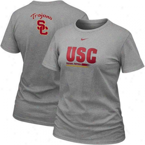 University Of Sourhern California T-shirt : Nike University Of Southern California Ladies Ash 2010 Practicee T-shirt