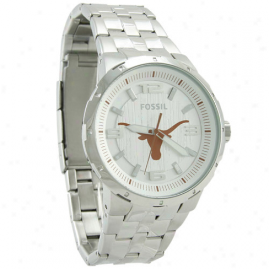 University Of Texas Watches : Fossil University Of Texas Stainless Steel Automatic Movement 3-hand Watches