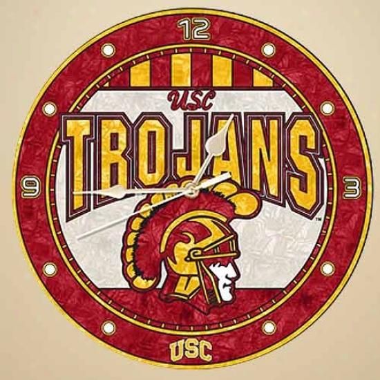 Usc Trojans Art-lgass Wall Clock