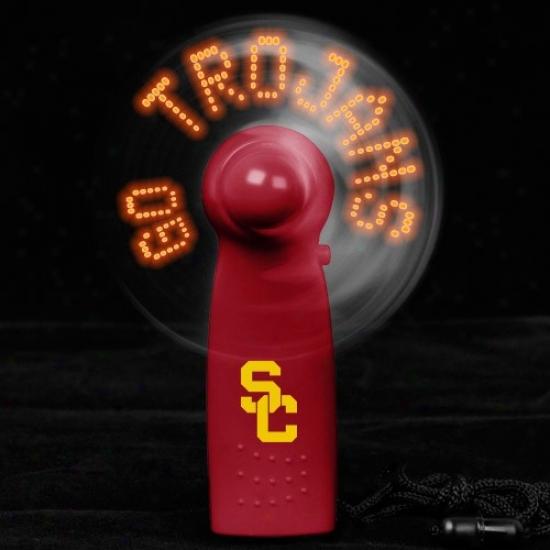 Usc Trojans Cardinal Light-up Message Fan