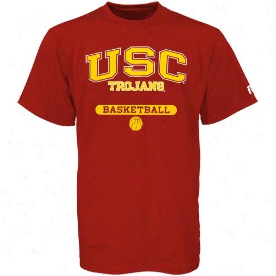 Usc Trojans T-shirt : Russell Usc Trojans Cardinal Basketbzll T-shirt
