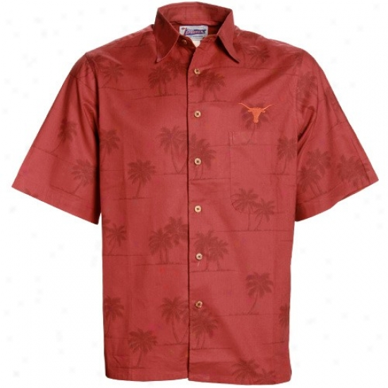 Ut Longhorn T-shirt : Reyn Spooner Ut Longhorn Focal Orange Spooner Palms Button-up T-shirt