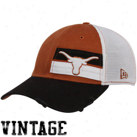 Ut Longhorns Gear: New Era Ut Longhorns Youth Focal Orange Double Stripe Vintage Flex Fit Hat