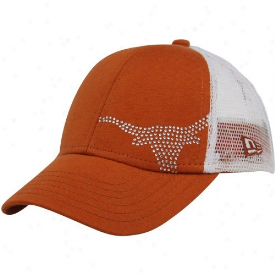 Ut Longhorns Merchandise: New Era Ut Longhorns Girls Youth Focal Orang Jersey Shimmer Adjustabble Hat