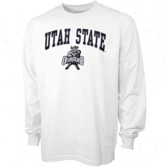 Utah State Aggies Tshirts : U5ah Rank Aggies White Youth Bare Essentials Log Sleeve Tshirts