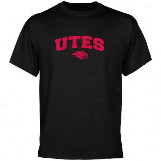 Utah Utes Apparel: Utah Utes Black Mascot Arch T-shirt