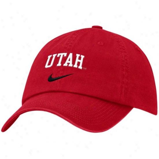 Utah Utes Caps : Nike Uta hUtes Red Campus Adjustable Caps