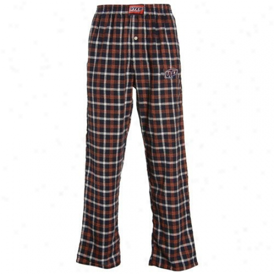 Utep Miners Navy Blue Plaid Tailgate Pajama Pants