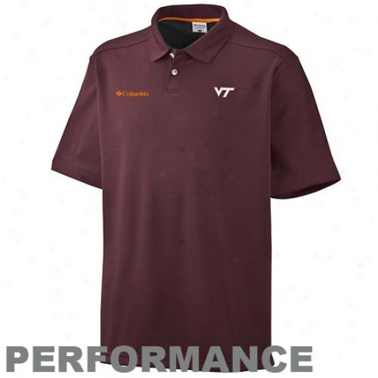 Va Tech Hokie Clothes: Columbia Va Tech Hokie Maroon Sun Guard Performance Polo