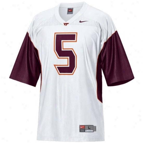 Va Tech Hokie Jersey : Nike Va Tech Hokie #5 White Rsplica Football Jersey