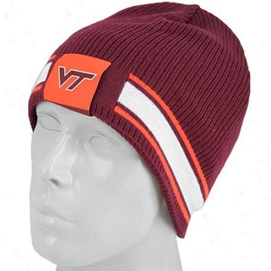 Va Tech Hokie Merchandise: Nike Va Tech Hokie Maroon/orange Reversible Knit Beanie