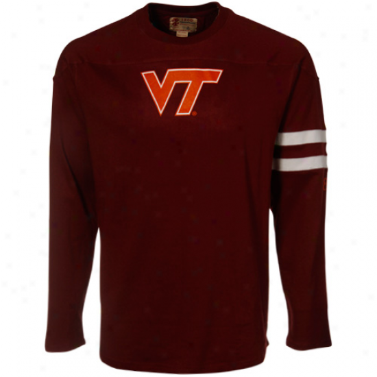 Va Tech Hokie Sihrt : Izod Va Tech Hokie Maroon Established Crew Long Sleeve Shirt