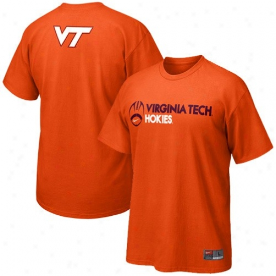 Va Tech Hokie Tees : Nike Va Tech Hokie Orange Practice Tees
