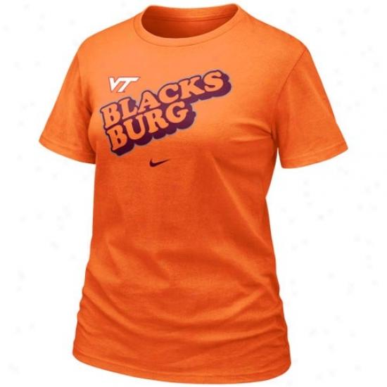 Va Tech Hokies  T-shirt : Nike Va Tech Hokies  Ladies Orange 2010 Local T-shirt