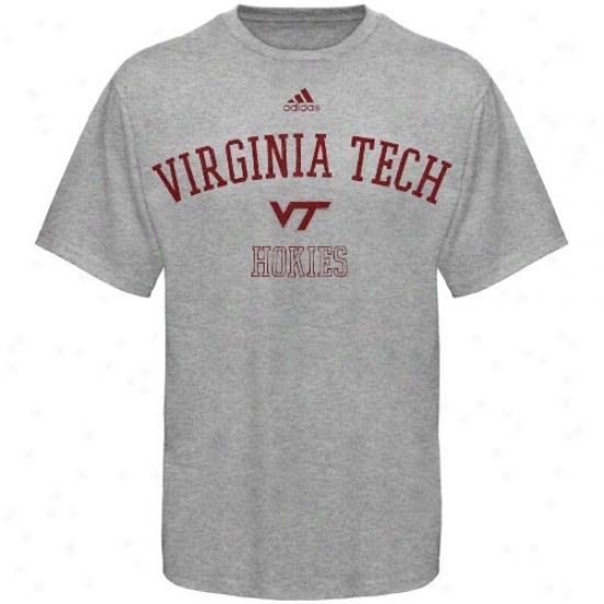 Va Tech Hokies  Tshirts : Adidas Va Tech Hokies  Ash Pracfice Tshirts