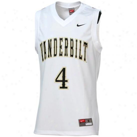Vanderbilt Commodores Jersey : Nike Vanderbilt Commodores #4 White Replica Basketball Jersey